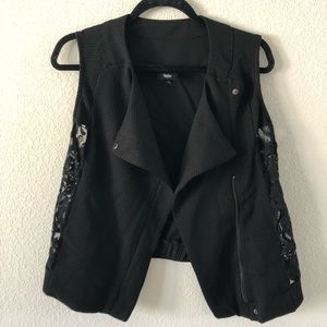 Black vest with lace side detail
